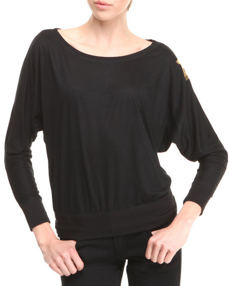 Birthday Girl Black Off-The-Shoulder Show Stopped Shirt