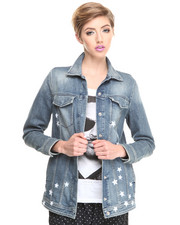 Women - Oversized Stars Denim Jacket