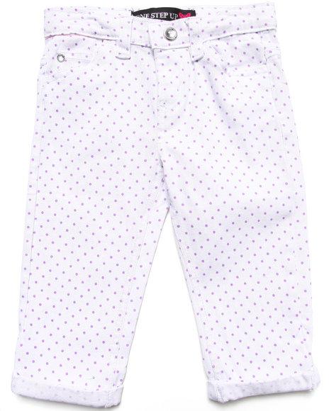 La Galleria - Girls White Polka Dot Capri Pants (4-6X)