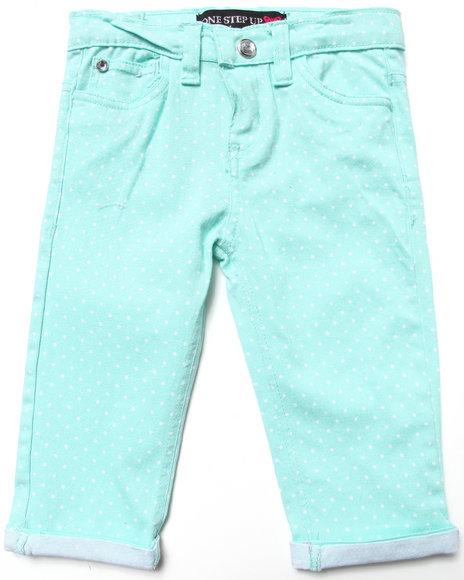 La Galleria - Girls Green Polka Dot Capri Pants (4-6X)