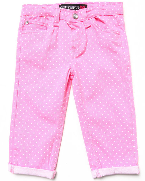 La Galleria Girls Pink Polka Dot Capri Pants (4-6X)