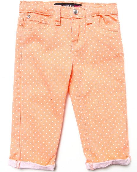 La Galleria - Girls Orange Polka Dot Capri Pants (4-6X)