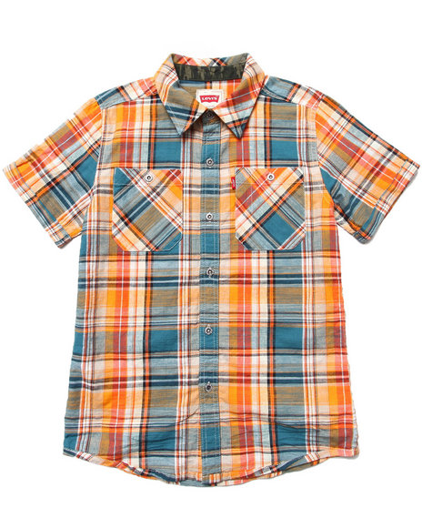Levi's - Boys Orange Walden Plaid Work Shirt (8-20)
