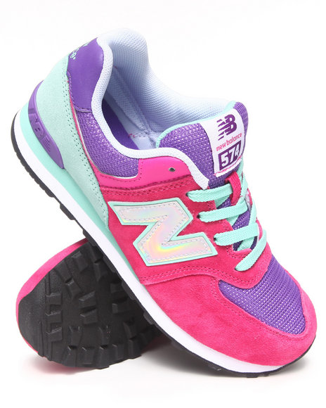 New Balance - Girls Pink 574 Hologram Sneaker (3.5-7)