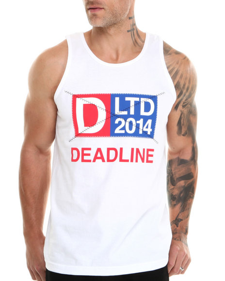 Deadline - Men White Nautical Patch Tank