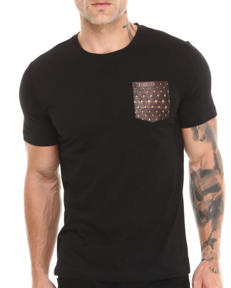 Akademiks Black Champ Short Sleeve Tee W/ Vegan Leather Star Print Pocket