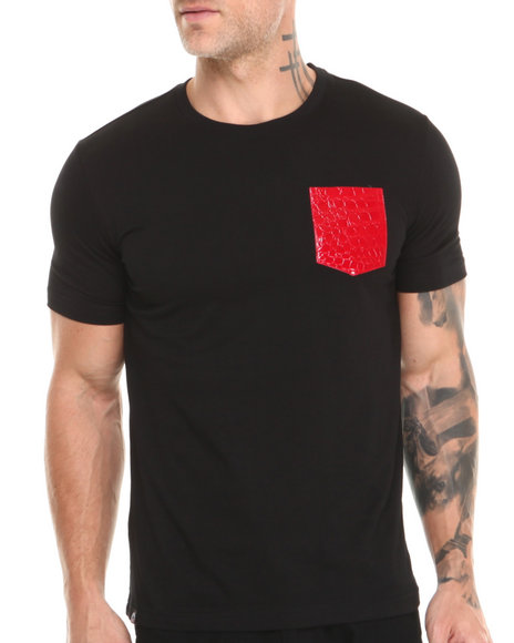 Akademiks - Hawk Short Sleeve Tee w/ Vegan Leather Snake Skin Pocket