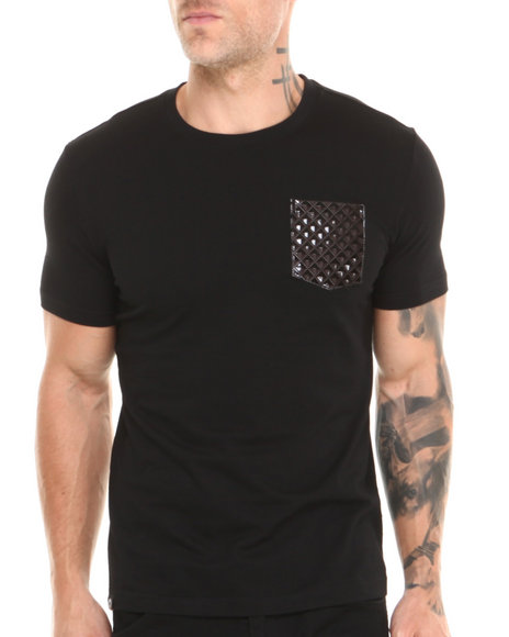 Akademiks Black Flight Hawk Short Sleeve Tee W/ Patterned Vegan Leather Pocket