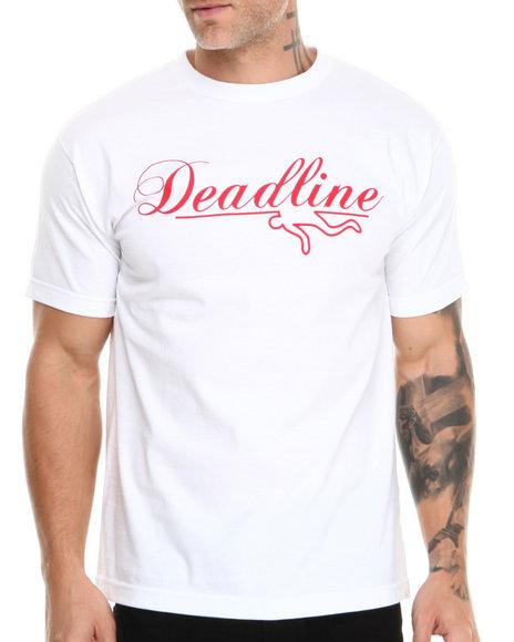 Deadline White Script Logo Tee