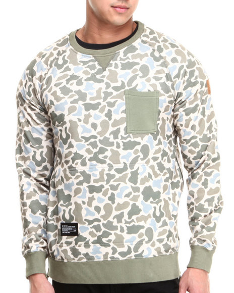 Two Angle Clothing - Men Camo Yazip Camo Crewneck Zip Sides Sweatshirt