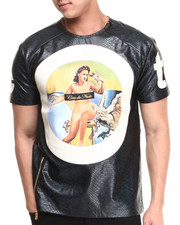 Shirts - Pin-Up Faux Leather Crewneck S/S Tee
