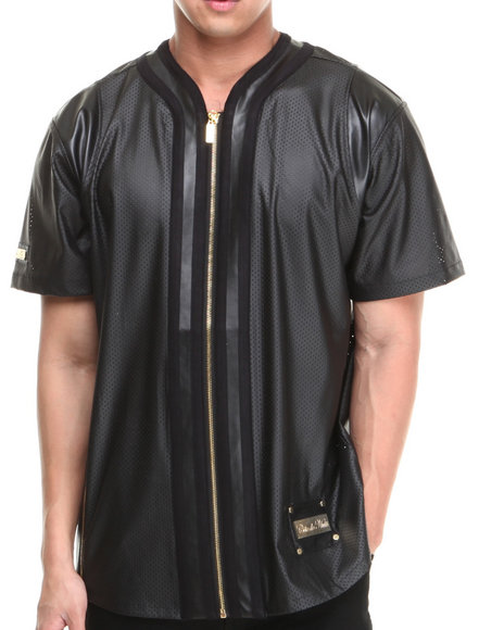 Cote De Nuits - Men Black Mixed Media Perforated Faux Leather Full - Zip Baseball Jersey