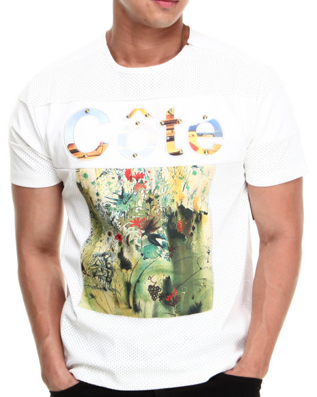 Cote De Nuits - Men White Cote Signature Perforated Faux Leather Crewneck S/S Tee