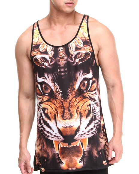 Two Angle Clothing Black Tarea Tiger Sublimation Tank