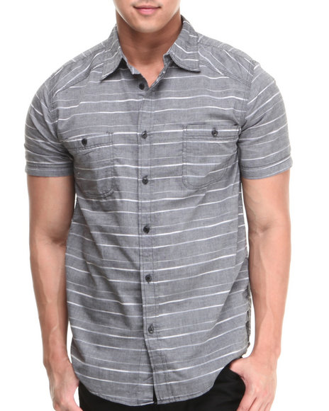 Buyers Picks - Men Black Horizontal Stripe Chambray S/S Button-Down Shirt