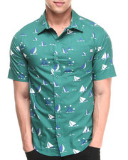 Button-downs - Earl Sinking Boat Woven Short Sleeve Shirt
