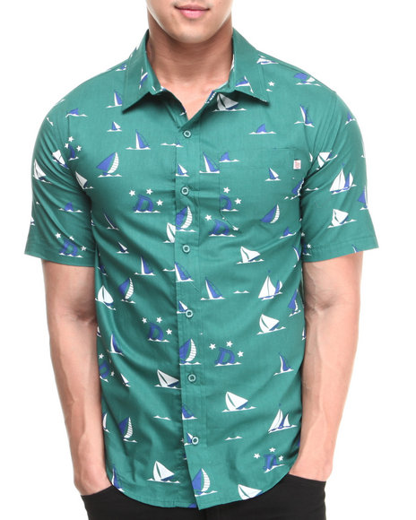 Odd Future Apparel Green Earl Sinking Boat Woven Short Sleeve Shirt