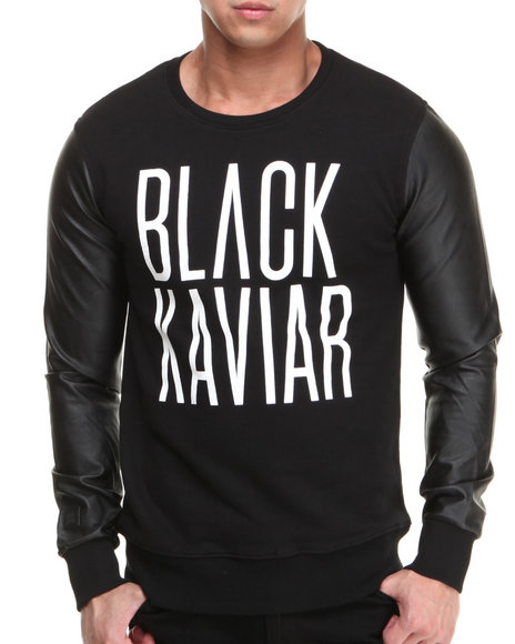 Black Kaviar Black Gingko Black Kaviar Sweatshirt With Pu Sleeves