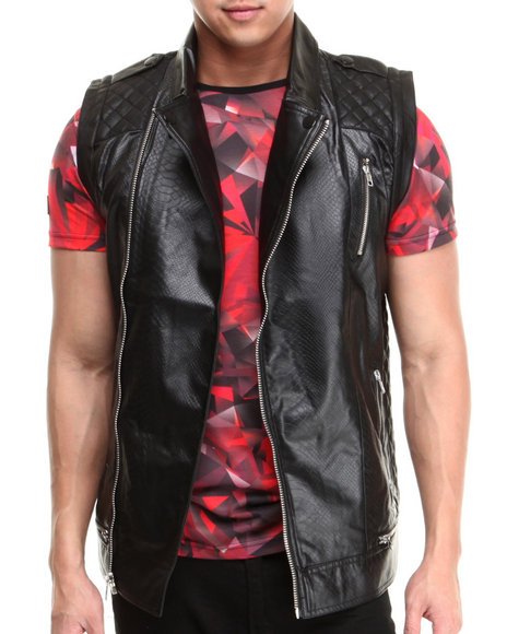 Black Kaviar Black Groovy Pu Croc Embossed Vest