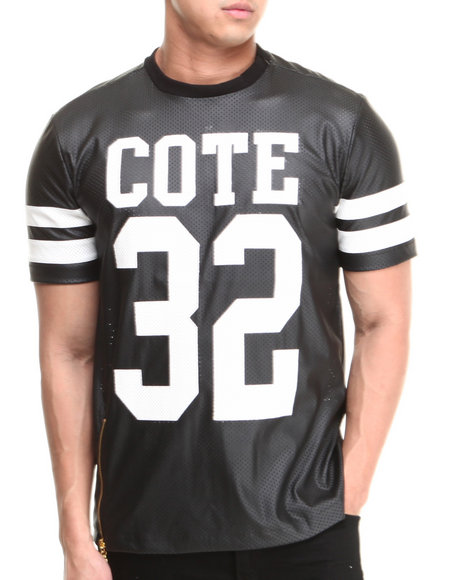 Cote De Nuits - Men Black Perforated Faux Leather Football Jersey Tee
