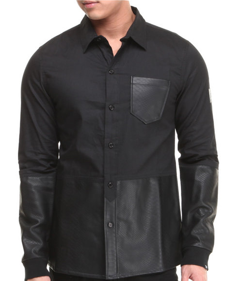Two Angle Clothing Black Button-Downs