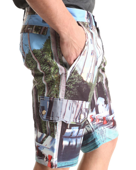 Cote De Nuits - Men Multi Microfiber All-Over Printed Shorts - $35.99