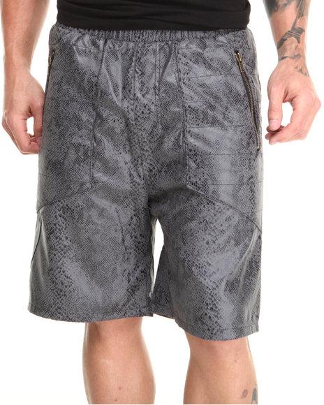 Buyers Picks - Men Black Vegan Leather Drawstring Shorts