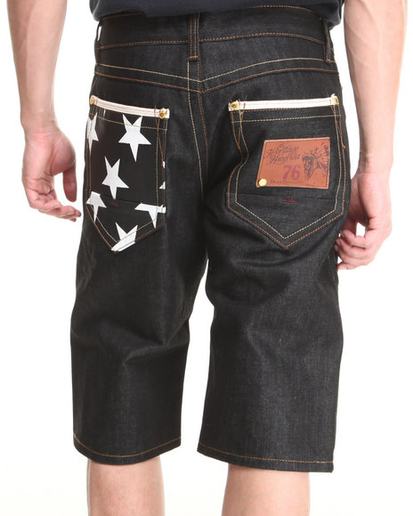 Heritage America Black White Star 5 Pocket Denim Shorts