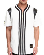 T-Shirts - Mixed Media Perforated Faux Leather Full - Zip Baseball Jersey
