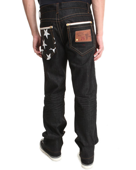 Heritage America Black White Star 5-Pocket Denim Jeans