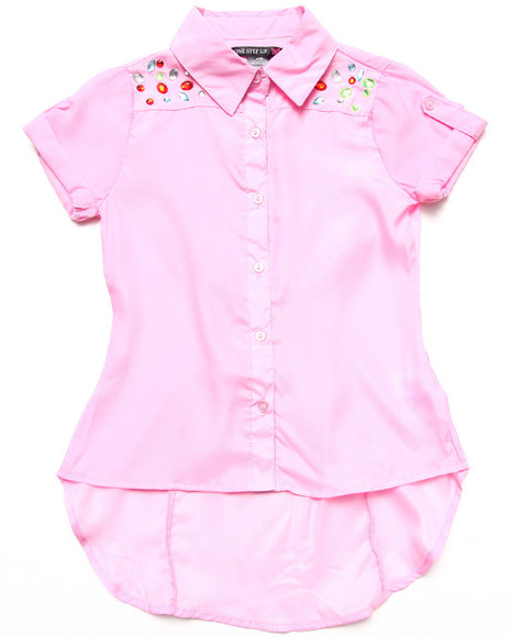La Galleria Girls Pink Jewel Yoke Shirt (7-16)