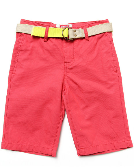 Levi's Boys Red Beach Comber Belted Flat Front Shorts (8-20)