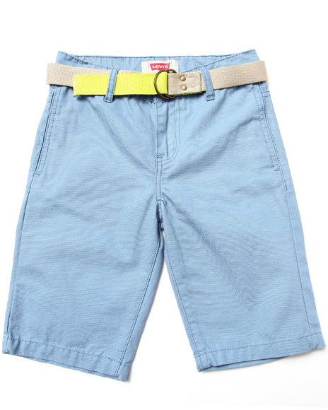 Levi's Boys Blue Beach Comber Belted Flat Front Shorts (8-20)