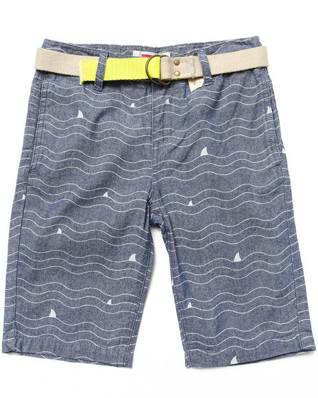 Levi's Boys Medium Wash Beach Comber Belted Printed Flat Front Shorts (8-20)