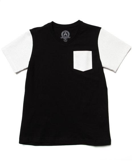 Akademiks Boys Black Solid Tee W/ Mesh Faux Leather Sleeves (8-20)
