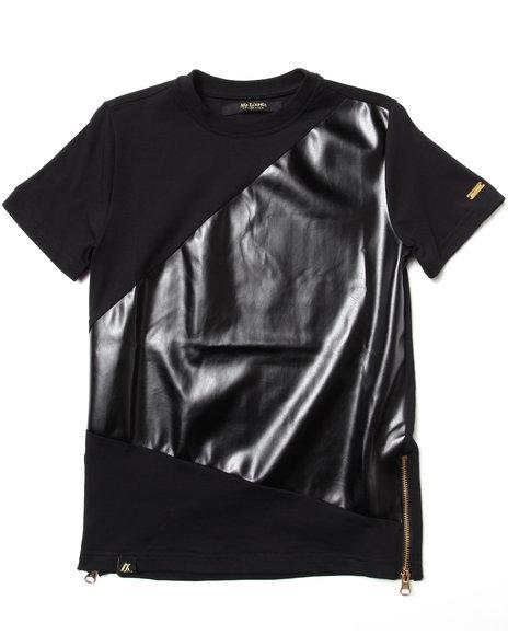 Akademiks Boys Black Asymmetrical Faux Leather Pieced Tee (8-20)
