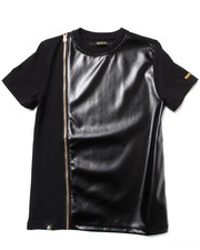 Akademiks - FAUX LEATHER TEE W/ ZIPPER DETAIL (8-20)