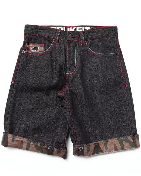 TRUKFIT Boys Black Ripstop Shorts W/ Camo Cuff (8-20)
