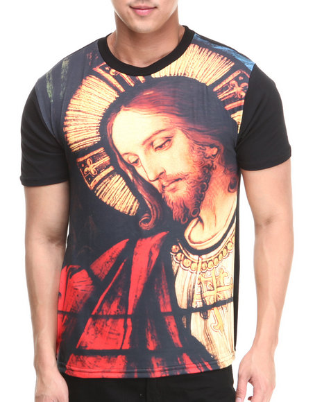 Basic Essentials - Men Black Jesus Sublimation Tee
