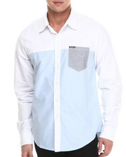 Button-downs - Color Block Long Sleeve Oxford Button Down