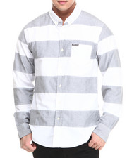 Members Only - Patched Large Striped Long Sleeve Oxford Button Down