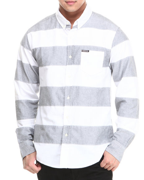 Members Only - Men Grey,White Patched Large Striped Long Sleeve Oxford Button Down