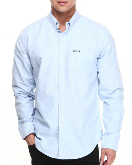 Members Only - Men Blue Solid Cotton Long Sleeve Oxford Button Down