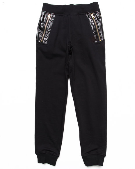 Akademiks - Boys Black Knit Pants W/ Faux Leather Detail (8-20)