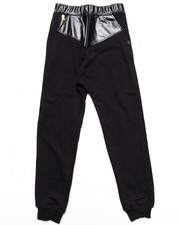 Akademiks - DROP CROTCH KNIT PANTS W/ FAUX LEATHER TRIM (8-20)
