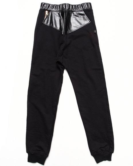 Akademiks - Boys Black Drop Crotch Knit Pants W/ Faux Leather Trim (8-20)