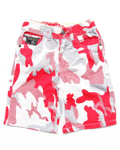 Camo,Red Shorts