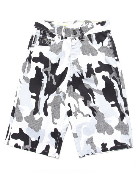 Akademiks - Boys Black,Camo Camo Shorts (8-20) - $13.99