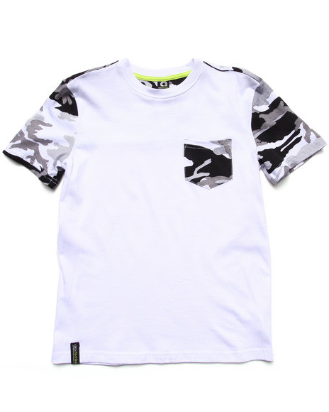 Akademiks - Boys Black,Camo Camo Pocket Tee (8-20) - $12.99