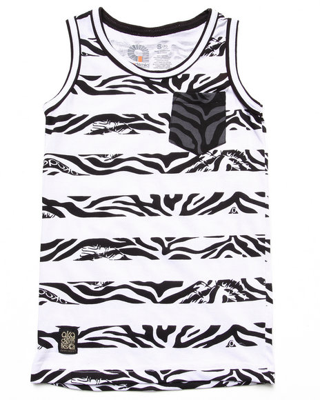 Akademiks - Boys Black Animal Stripe Tank (8-20)